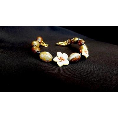 Bracciale con Agata marrone e fiori
