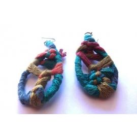 Orecchini etnici in lana - Vari colori