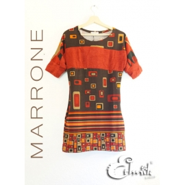 Vestito etnico Seventies - Marrone