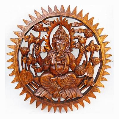 Pannello decorativo in legno Ganesh