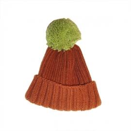 Cappello bicolor con maxi pon pon