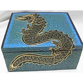 Scatola in legno Drago Blu