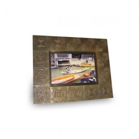 Cornice in legno e ottone Rombi 16x11