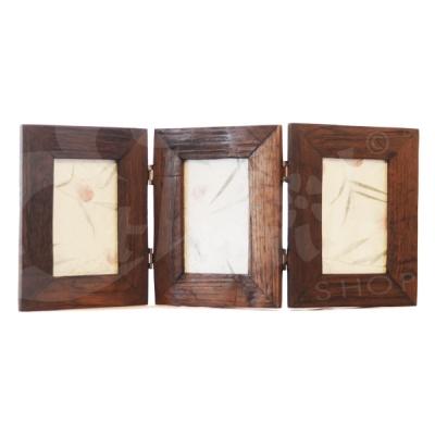 Cornice tripla in legno trittico 52x22cm cornici album for Cornice foto legno
