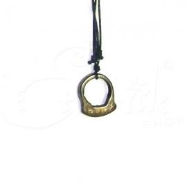 Collana con ciondolo in pietra incisa - black ring