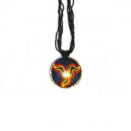 Collana di perline nere con ciondolo dipinto tribale sole concept