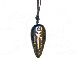 Collana con ciondolo in pietra incisa - viso tribale