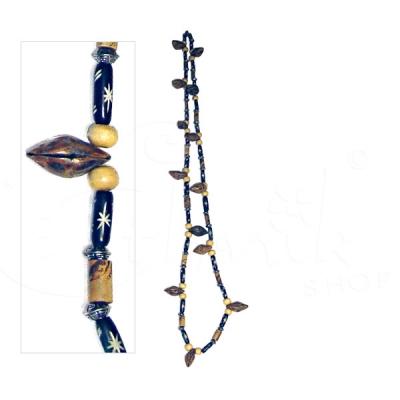 Collana tribale lunga con semi di cocco