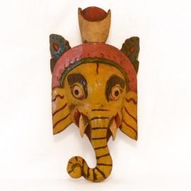 Maschera in legno Ganesha giallo