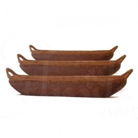 Set di tre svuota tasche in legno e corda