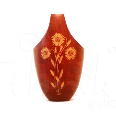Vaso in legno di mango a cestino con intarsio a fiore