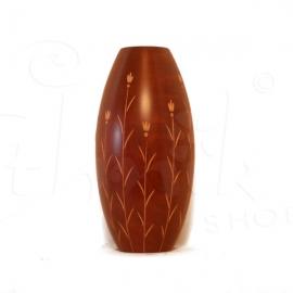Vaso in legno di mango con intarsio a fiore - 30cm