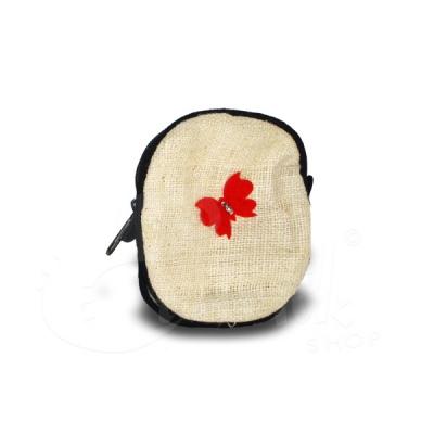 Porta monete in cotone rotondo bianco con fiocco rosso