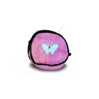 Porta monete in cotone rotondo rosa con farfallina