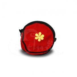 Porta monete in cotone rotondo rosso con fiore