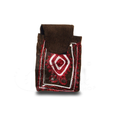 Porta cellulare in velluto ricamato a mano marrone rosso