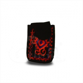 Porta cellulare in velluto ricamato a mano nero rosso