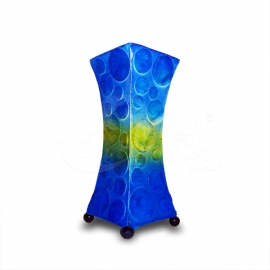 Lampada Boule blu-oro svasata - altezza 30cm