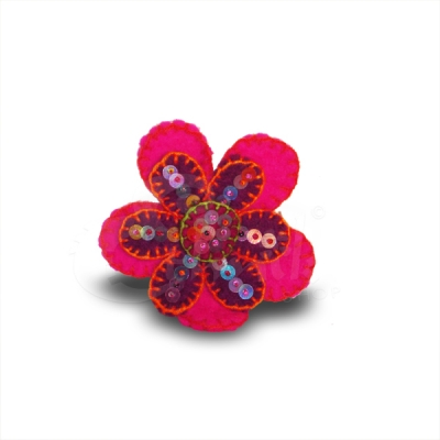 Spilla in lana cotta fiore 2