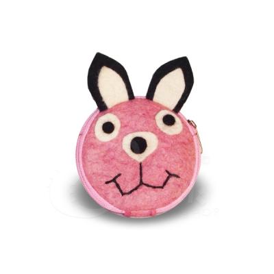 Porta monete in lana cotta forma coniglio rosa