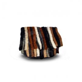 Porta monete in lana cotta a mezzaluna con frange