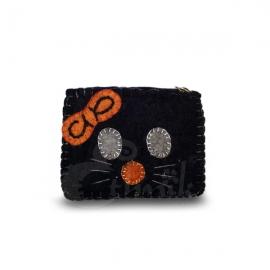 Porta monete in lana cotta rettangolare gatto
