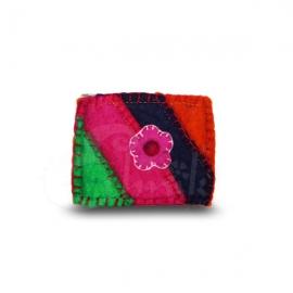 Porta monete in lana cotta rettangolare rainbow flower 4