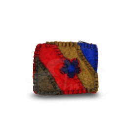 Porta monete in lana cotta rettangolare rainbow flower 2