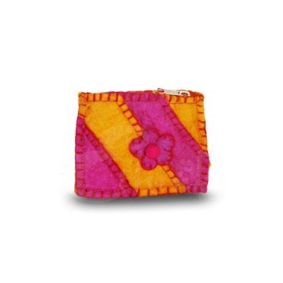Porta monete in lana cotta rettangolare rainbow flower 3