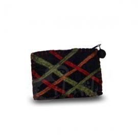 Porta monete in lana cotta rettangolare righe 4