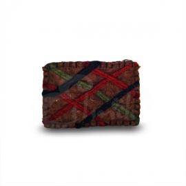 Porta monete in lana cotta rettangolare righe 3