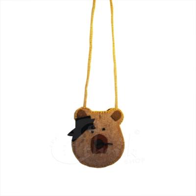 Borsina porta cellulare lana cotta con orsetto