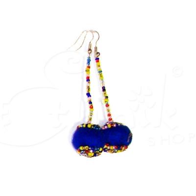 Orecchini con boule di lana cotta e perline - Vari colori.