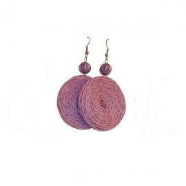 Orecchini in corda tinta unita con perla - Vari colori.
