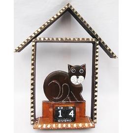 Calendario perpetuo gatto con casetta
