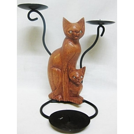 Porta candele gatti in legno - 3 candele