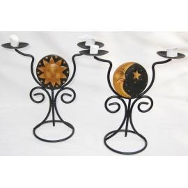 Porta candele sole luna in legno - 2 candele