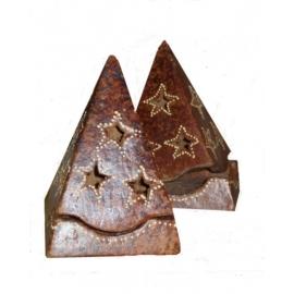 Porta candele in terracotta dipinto a piramide