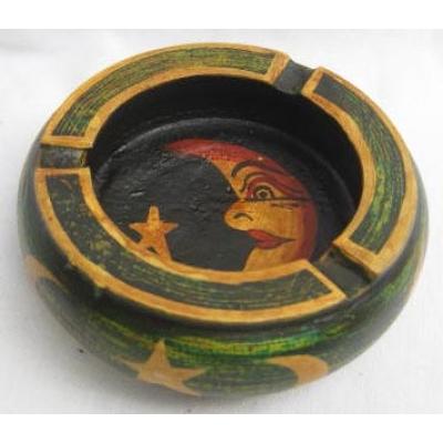 Posacenere in legno dipinto Luna - Vari colori