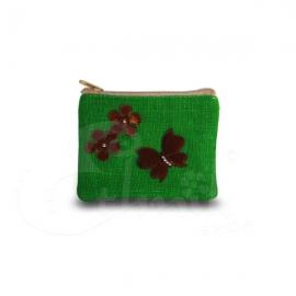 Porta monete in cotone con applicazione farfalla