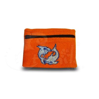 Porta monete in cotone ricamato con delfini