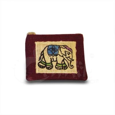 Porta monete in cotone con elefante