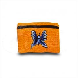 Porta monete in cotone ricamato con farfalla