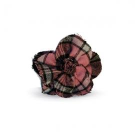 Spilla - ferma capelli fiore tartan rosa