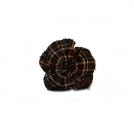Spilla - ferma capelli fiore in tartan grigio
