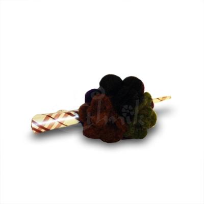 Ferma capelli tartan fiore in lana cotta