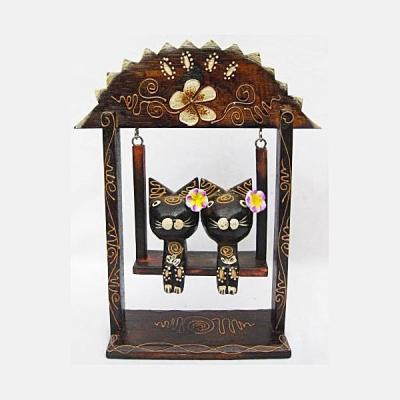 Gatti in altalena - Decorazione in legno