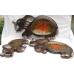 Svuota tasche etnico in legno elefante - Grande - Vari colori