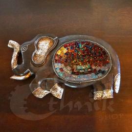 Svuota tasche etnico in legno elefante - Piccolo - Vari colori