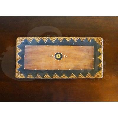 Svuota tasche etnico a vassoio in legno - Grande - 46cm